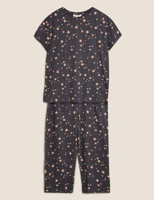 Cotton Star Print Cropped Pyjama Set