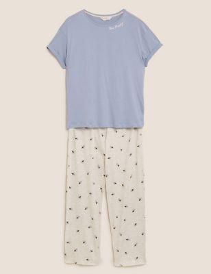 Cotton Bee Happy Slogan Pyjama Set