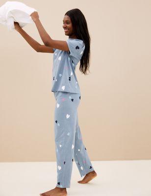 Cotton Heart Print Pyjama Set