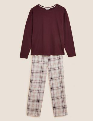 Cotton Checked Print Pyjama Set
