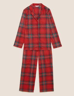 Fleece Checked Rever Collar Pyjama Set