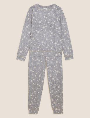 Fleece Star Print Cuffed Pant Pyjama Set