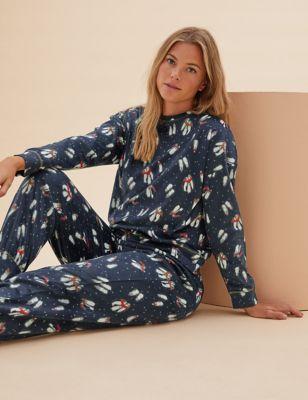 Fleece Printed Cuffed Pant Pyjama Set