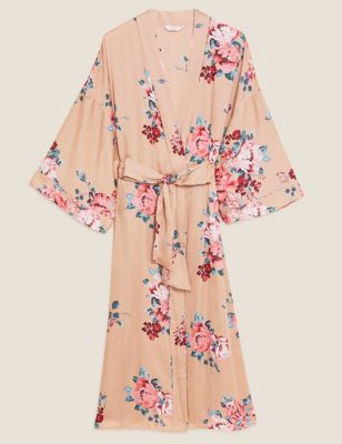 Satin Floral Print Long Wrap