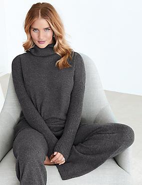 Pure Cashmere Funnel Neck Pyjama Top, CHARCOAL, catlanding