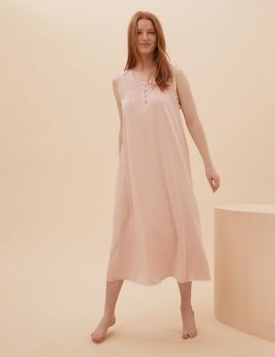 Cotton Broderie Long Nightdress