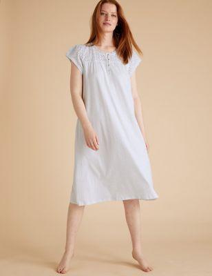 Pure Cotton Broderie Trim Nightdress