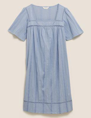 Cotton Lace Trim Jacquard Nightdress