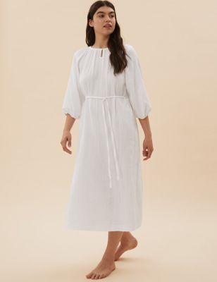 Pure Cotton Muslin Long Nightdress