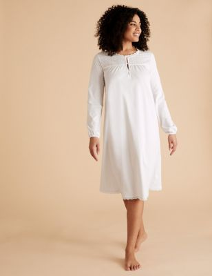 Pure Cotton Broderie Trim Long Nightdress