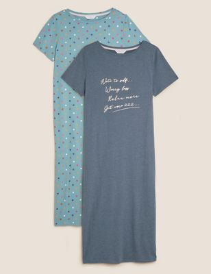 2pk Cotton Slogan Nightdresses