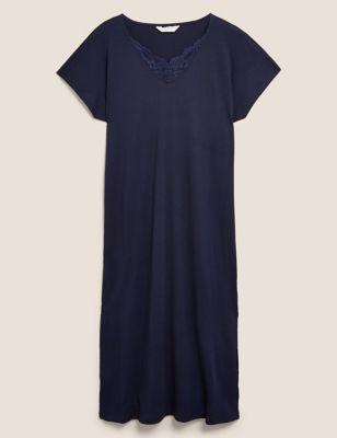 Cotton Modal Lace Insert Nightdress