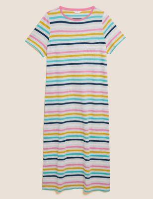 Cotton Stripe Long Nightdress