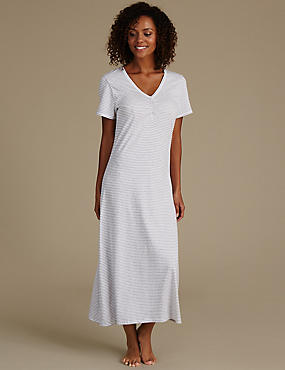 Striped Nightdress with Cool Comfort™ Technology, GREY MIX, catlanding