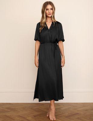 Satin & Lace Trim Tie Nightdress