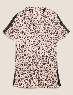 Satin & Lace Animal Print Short Pyjama Set