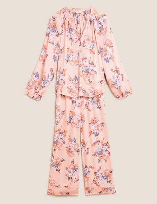 Satin Floral Print Pyjama Set