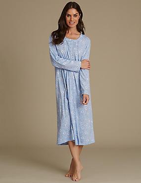 Floral Print Jersey Nightdress, BLUE MIX, catlanding