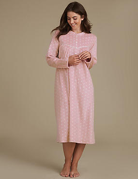 Fleece Spotted Nightdress, PINK MIX, catlanding