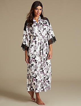Satin Printed Long Wrap Dressing Gown, BLACK MIX, catlanding
