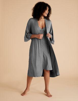 Sumptuously Soft™ Lace Trim Lounge Wrap