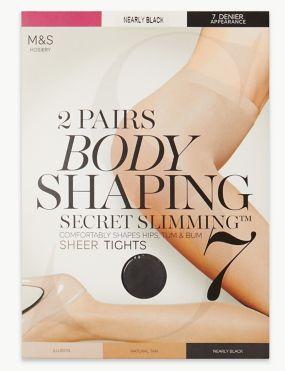 15138c9fb 2 Pair Pack 7 Denier Secret Slimming™ Sheer Body Shaper Tights
