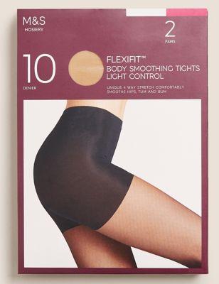 2pk Flexifit™ 10 Denier Light Control Sheer Tights