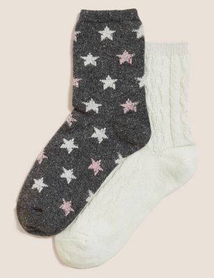 2pk Thermal Ankle High Socks with Wool