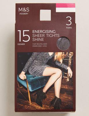 3pk 15 Denier Energising Sheer Tights