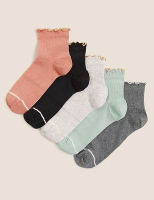 5pk Cotton Ruffle Anklet Socks