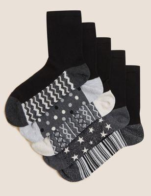 5pk Cotton Seamfree Ankle High Socks