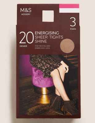 3pk 20 Denier Energising Sheer Tights