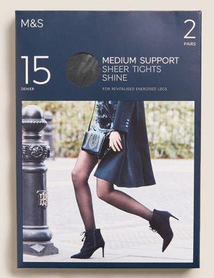 2pk 15 Denier Medium Support Sheer Tights