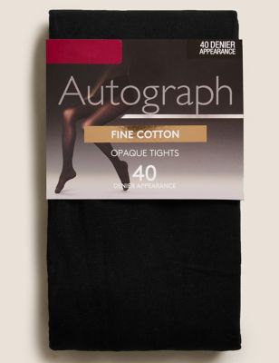 40 Denier Fine Cotton Opaque Tights