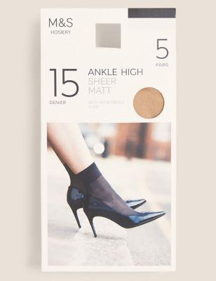 5pk 15 Denier Matt Ankle Highs