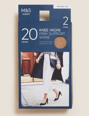 2pk Firm Support Shine Knee Highs
