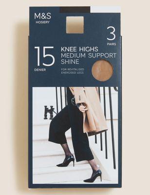 3pk Medium Support Knee High Tights