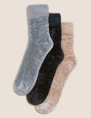 3PK Velvet Cosy Fur Trim Ankle High Socks