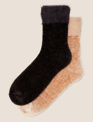 2pk Velvet Ankle High Socks