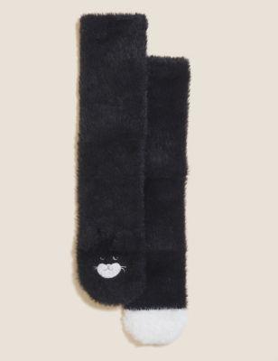 2pk Cosy Fur Cat Ankle High Socks