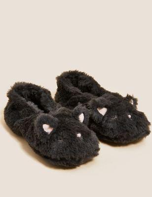 Faux Fur Ballerina Slipper Socks