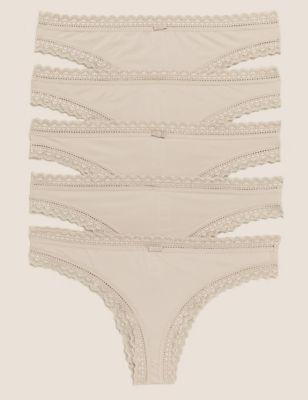 5pk Microfibre & Lace Brazilian Knickers