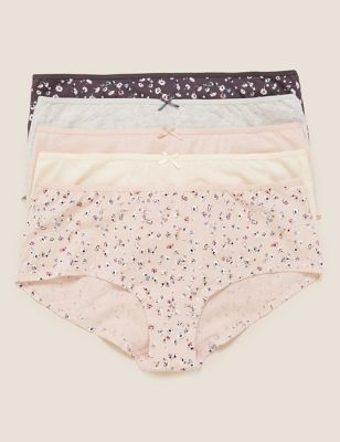 5pk Cotton Lycra® Daisy Print Low Rise Shorts