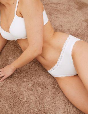 3pk Cotton & Lace Bikini Knickers