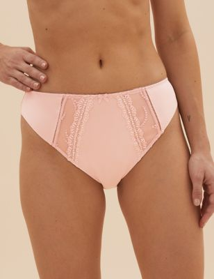 5pk Embroidered High Leg Knickers