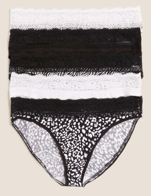 5pk Cotton & Lace High Leg Knickers