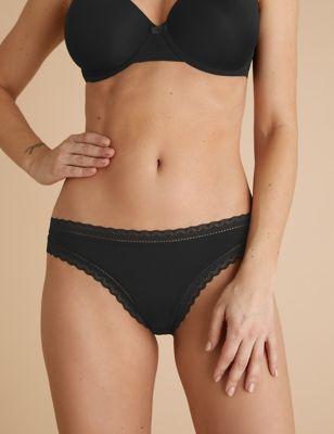 5pk Microfibre & Lace Bikini Knickers