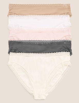 5pk Microfibre & Lace High Leg Knickers