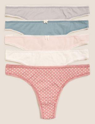 5pk Cotton Lycra™ Thongs