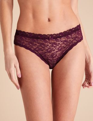 3pk All Over Lace Brazilian Knickers